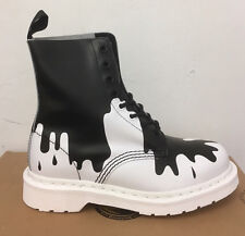 DR. MARTENS PASCAL BLACK + WHITE PAINT SPLAT SOFTY T   LEATHER  BOOTS SIZE UK 3