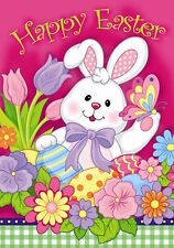 "Happy Easter Bunny House Flag Decorated Eggs Holiday Tulips 28"" x 40"""