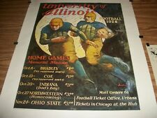 RARE VINTAGE U OF ILL 1928 FOOTBALL POSTER & LETTER