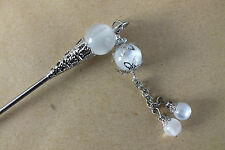 JAPANESE CHINESE WHITE BEAD CHOPSTICK HAIR STICK PIN WOMEN GIRL WEDDING PARTY