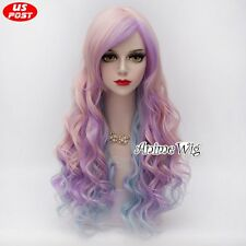 Lolita Fashion Party Long Pink Mixed Blue Purple Curly Hair Women Cosplay Wig