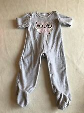 Baby Girls Clothes 9-12 Months- Cute Owl Velour  BabyGrow Sleepsuit