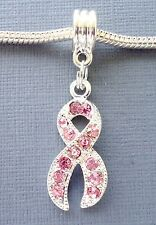 Pendant European charm bead Rhinestone Breast Cancer Awareness Pink Ribbon C26