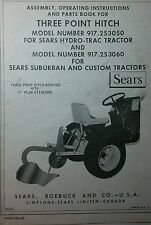 Sears 3-POINT HITCH & Disc Harrow Implement Garden Tractor Owner & Parts Manuals