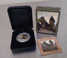 2013 Tuvalu European Green Dragon 1 ozt Silver Proof Coin w/ Box & COA (Perth Mi