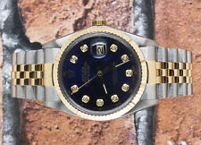 Gents Blue Diamond Dial Steel & 18k Yellow Gold Rolex Oyster Perpetual Datejust.