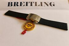 100% Genuine Breitling Black Aero Classic Caoutchouc Strap and 20mm Steel Clasp