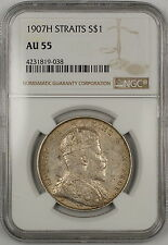 1907-H Straits Settlements $1 Dollar Silver Coin NGC AU-55