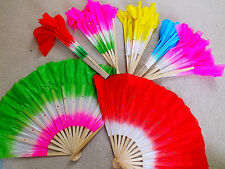 """12 XL 16"""" COLOR DANCE CHINESE THEATRE HAND FAN SPECIAL EFFECT WAVY EDGE PARTY"""