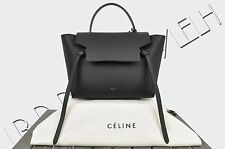 CELINE PARIS 2350$ Authentic New  Mini Belt Bag In Black Grained Calfskin