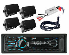 Antenna Amplifier 4 Black Box Marine Speakers & Boss Bluetooth USB iPod Radio