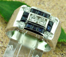 1.54 CT MENS DIAMOND & SAPPHIRE RING white gold 14K classy 9.00 GRAM MADE IN USA