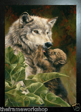 BLACK FRAMED WOLF PRECIOUS MOMENTS - 3D MOVING PICTURE 400mm X 300mm