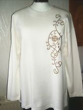 Doxan Damen Sweatshirt elegant Pullover Gr. 46/48 weiß Baumwolle/ 50% Modal