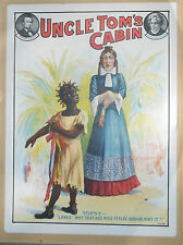 rare old 19th C Theater poster sign advertising Uncle Tom's Cabin racial Topsy