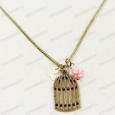 RETRO BIRD CAGE PENDANT antique brass MOP BIRDS/PINK ROSE vintage gold CHAIN