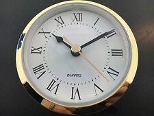 "Quartz Clock Battery Fit-Up Insert Roman Movement White 3 1/2"" fits a 3"" Hole"