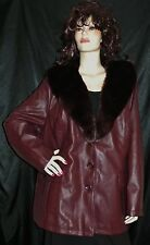 NWT CATHERINES DARK BURGUNDY FAUX LEATHER FUR COLLAR JACKET MSRP $198  3X PLUS