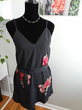 Stree Heart Womans US Size 6 Embroidered Black Red Slip Dress W/Belt
