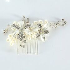 Bridal Silver Rhinestone Crystal Diamante Wedding Flower Pearls Hair Comb Clip