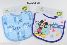 "2 NEW DISNEY BABY MICKEY MOUSE BABY BIB 8""x8""+  65% COTTON 35% POLYESTER (OE)"