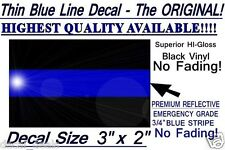 "Thin Blue Line Sticker Decal Police Support  FOP  3"" x 2"""