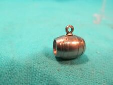 VINTAGE METAL BARREL CHARM PENDANT WITH HIDDEN COMPARTMENT FOR PERFUME POWDER