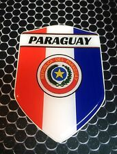 "Paraguay Asunción Proud Shield Flag Domed Decal Emblem Sticker Car 3D 2.3""x 3.3"