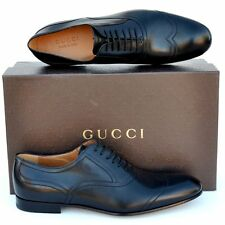 GUCCI New sz 11.5 - US 12.5 Designer Mens Leather Wingtip Oxfords Shoes Black