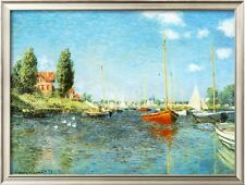 """Claude Monet  Red Boats Argenteuil Handmade Oil Painting repro 30""""x40"""""""