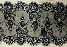 3 Yards Black/White Floral Embroidered Eyelash Mesh Lace Trim 12 inches in Width