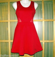 SEXY RED DRESS W/GROMMETS - SHEER WAIST CUT OUTS - SM - GREAT FOR HOLIDAY - LQQK