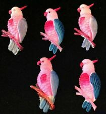 Japan VINTAGE CELLULOID Hand Painted Parrot BIRDS CHARMS Cabochon CABS RARE lot