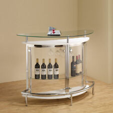White Tempered Glass Bar Counter Wine Storage Footrest Home Dining Furniture