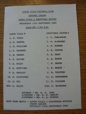 12/09/1984 Aston Villa Reserves v Sheffield United Reserves  (Single Sheet, Scor