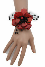 Women Bracelet Red Bead Big Flower Charm Black Elastic Cuff Band Fashion Jewelry