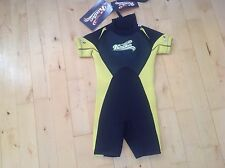 BNWT KIDS BLACK & YELLOW SHORTIE WET SUIT BY KAIKO AGE 5 -6  YEARS RRP £16