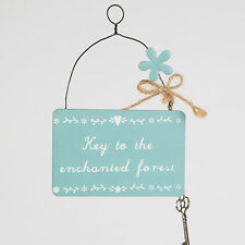 Sass and Belle Blue Plaque  - Key to the Enchanted Forest. Wooden plaque