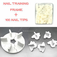Nail Art Removable Training Frame  + 100PCS False Tips Practice Tool WHITE