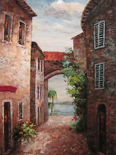 "Saint Lucia Street Original Hand Painted 24""x36"" Oil Painting Cityscape Art"