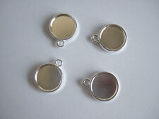 50 x Silver Plated 12mm Round Cameo Cabochon Pendant Setting Tray Double-sided