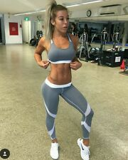 RIGFIT ACTIVEWEAR TRACKSUIT CROPPED SPORTS TOP BRA & BOTTOMS GREY MESH S 8 10