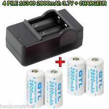 4 Piles Rechargeables CR123A 3.7V 123A CR123 16340 2800Mah Li-ion + CHARGEUR