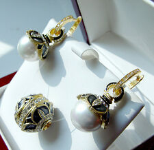 SALE !   SUPERB ENAMEL EGG SLIDE & EARRINGS SET SILVER 925 with WHITE PEARL