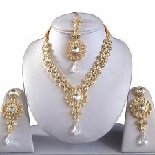 CLEAR GOLD INDIAN COSTUME JEWELLERY NECKLACE EARRINGS KUNDAN CRYSTAL SET BRIDAL