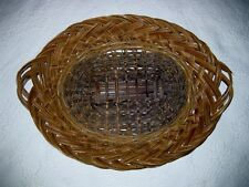 "VINTAGE LARGE WOVEN BASKET SERVING TRAY WALL DECOR 23.5"" MADE IN HAITI"