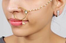 KN-08 BELLY DANCE GOLDEN TONE INDIAN BOLLYWOOD BRIDAL NOSE RING NATH JEWELRY