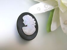 Vintage natural Australian Opal lady cameo Onyx base handmade excellent fire