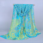 Fashion Lady Womens Peacock Chiffon Scarf Soft Shawl Silk Wrap Neck Warm Stole