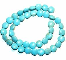 NG1750f Light Blue Turquoise 10mm Flat Round Coin Magnesite Gemstone Beads 15""